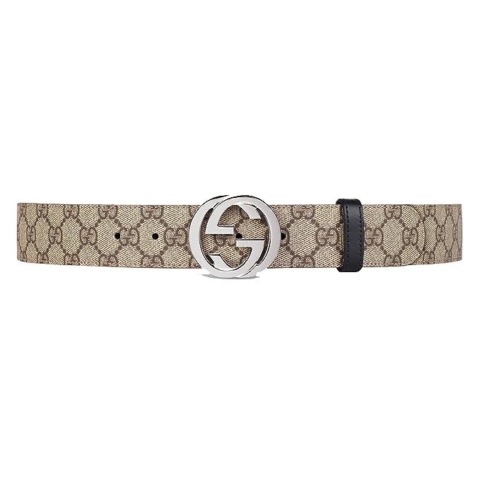 size 40 5df50 f64fd Gucci Cintura Uomo 473030KGDHN9769 Pelle Beige/Nero: Amazon ...