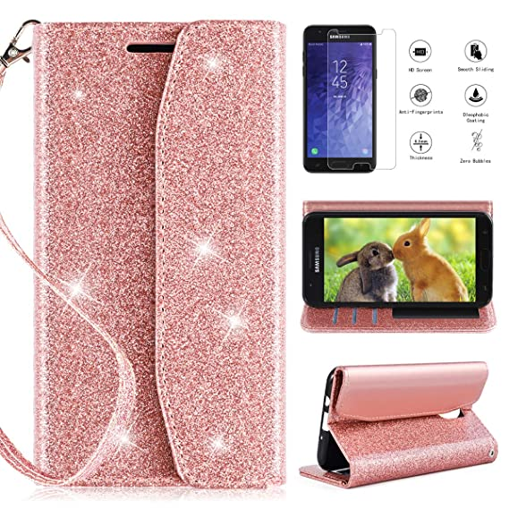 reputable site 3a699 64bbd Samsung Galaxy J7 Refine Case Wallet,Galaxy J7 2018 Case,J7V J7 V 2nd  Gen/J7 Star Case Wallet w/Screen Protector,CaseRoo [Kickstand][Card  Slots][Wrist ...