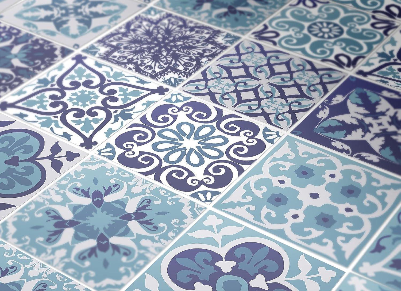 Wandaufkleber Portugiesische Blaue Küche Fliesendekor Ideen (Packung mit 48) (10 x 10 cm) B072QX7Q9J Fliesenaufkleber
