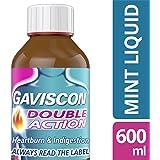 Gaviscon Heartburn and Indigestion Liquid, Double Action, Mint Flavour, 600 ml