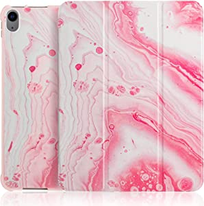 iPad 4th Generation Case with Pencil Holder, Cute iPad Air Case 10.9 Inch 2020 for Woman [Support Touch ID & Apple Pencil Charging/Pair], Trifold Stand Smart Cover-Rose Marble