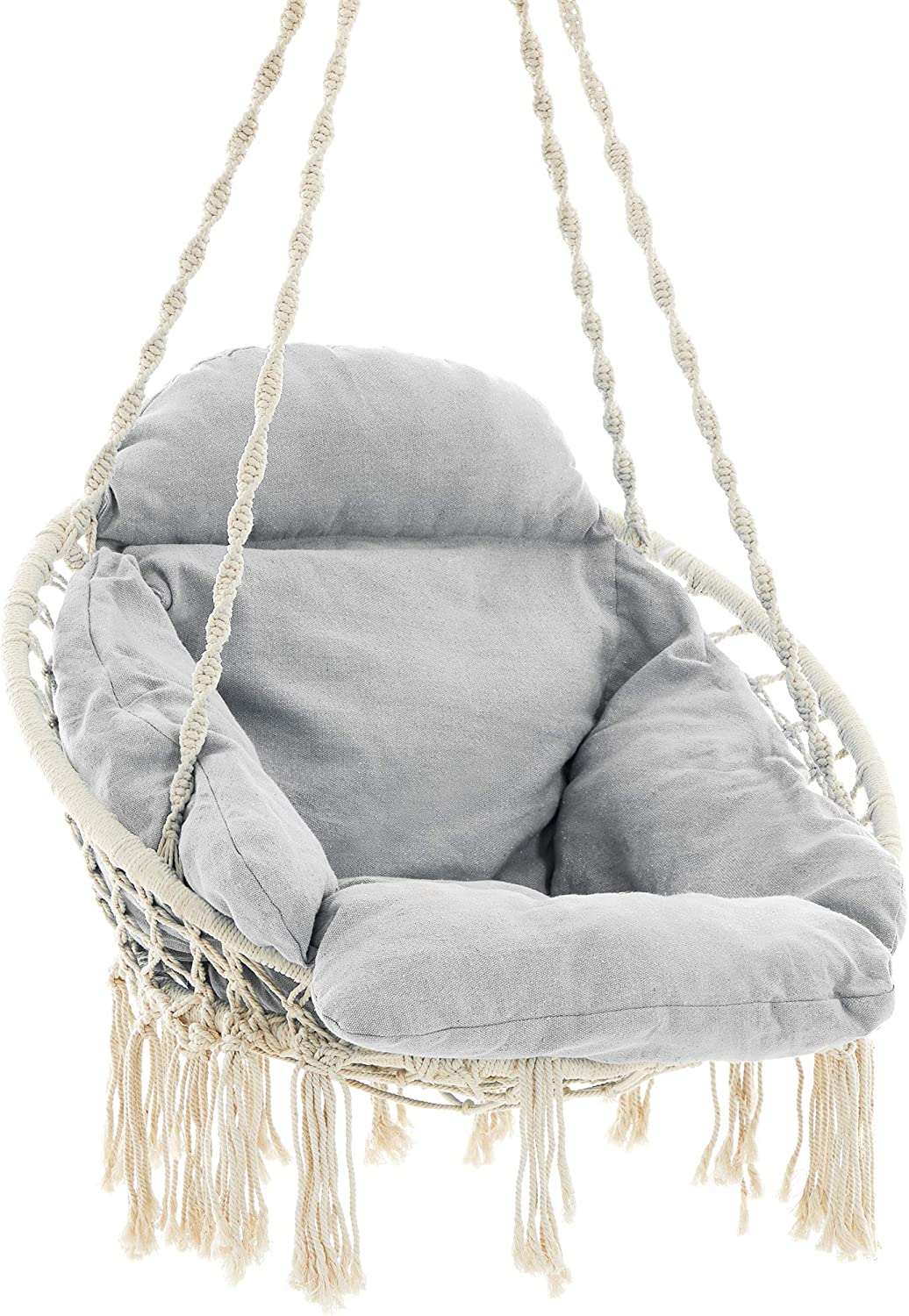 SONGMICS Hanging Chair, Hammock Chair with Large, Thick Cushion, Swing Chair, Holds up to 264 lb, for Terrace, Balcony, Garden, Living Room, Scandinavian, Shabby Chic, Cloud White and Gray UGDC042G01
