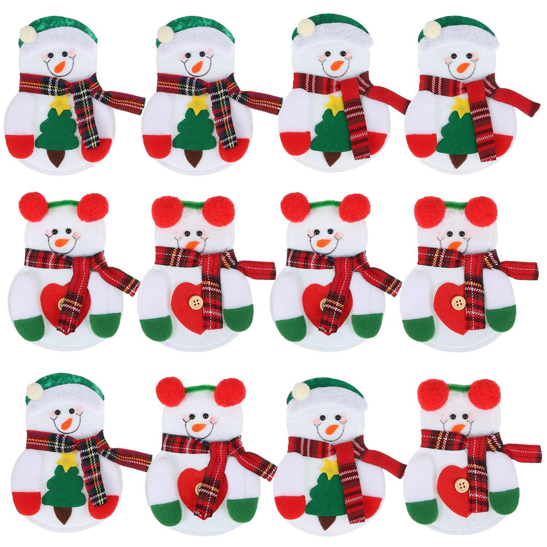 Pangda 12 Pezzi Natale Pupazzi Fantoccio di Neve Portaposate Sacchetti di Coltellame Forchetta Natale Decorazione Cucina Utensili