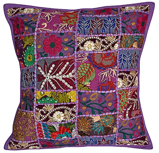 NANDNANDINI - Funda de cojín india hecha a mano bohemia hippie patchwork decoración hogar fundas de almohada manta almohadas
