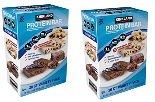 Kirkland Signature Variety Protein Bars 20 count, 21G Of Protein, 4G Of Carbs and 1G Of Sugar, Chocolate Brownie and Chocolate Chip Cookie Dough, 2 Boxes