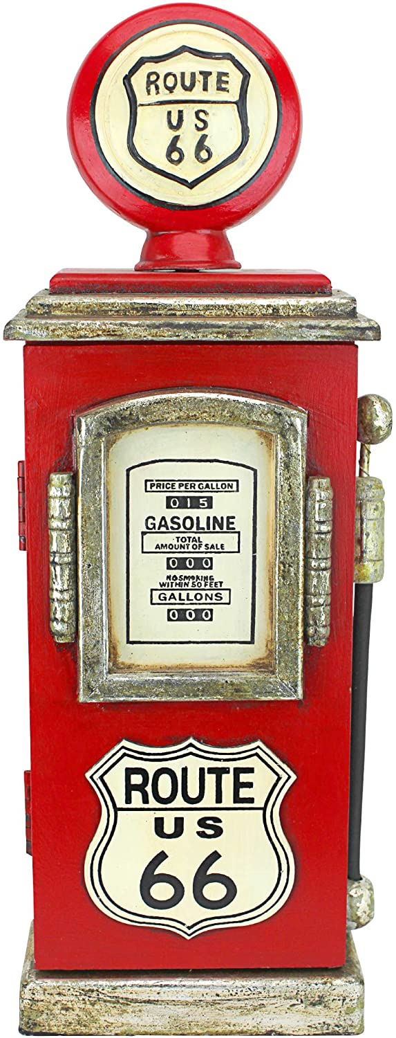 Design ToscanoRoute 66 Gas Pump Big Boy Toy Key Cabinet, 19 Inch, full color