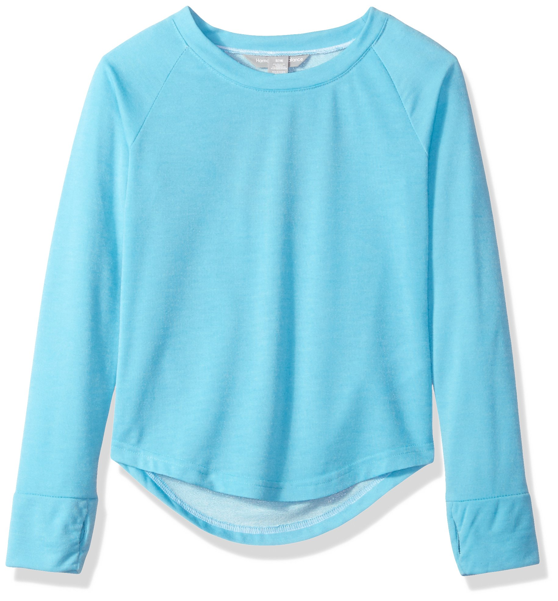 Harmony and Balance Big Girls' French Terry Top, Blue Atoll, 7/8