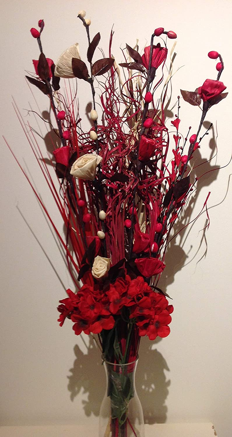 Dried Artificial Flower Bouquets 85cm Tall Ready For A Vase Red Cream Amazon Co Uk Kitchen Home