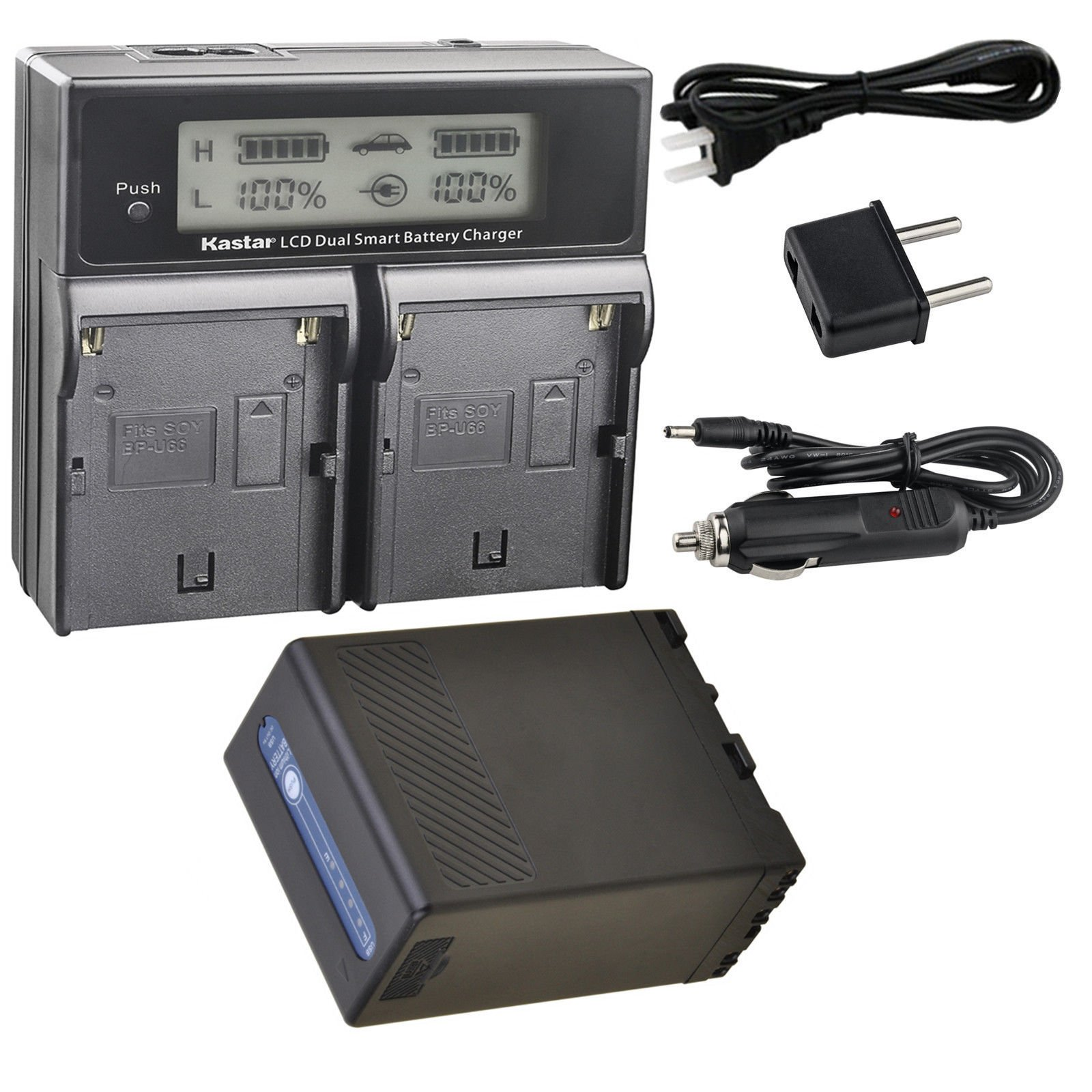 Kastar Battery 1 Pcs and LCD Dual Fast Charger for Sony BP-U90 BP-U95 BP-U96 BP-U60 BP-U65 BP-U66 BP-U68 BP-U30 BC-U1 BC-U2 Sony PMW-150P XDCAM EX HD422 PHU-60K PXW-Z450 PXW-Z190 PXW-Z280 Camcorder by Kastar