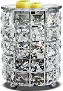 Wrought Iron Crystal Wax Melt Warmer Electric Oil Burner Wax Melt for Home, Kitchen, Living Room, Bedroom, SPA(Silver)