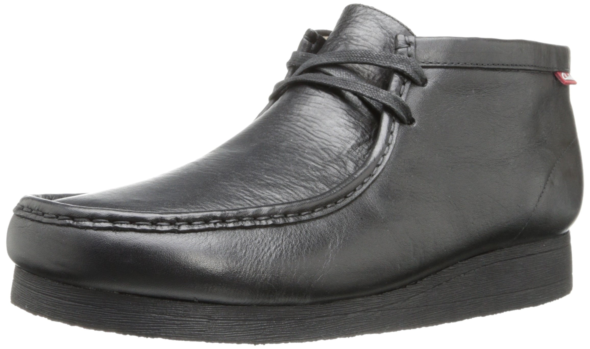 CLARKS Men's Stinson Hi Chukka Boot,Black Leather,9 M US