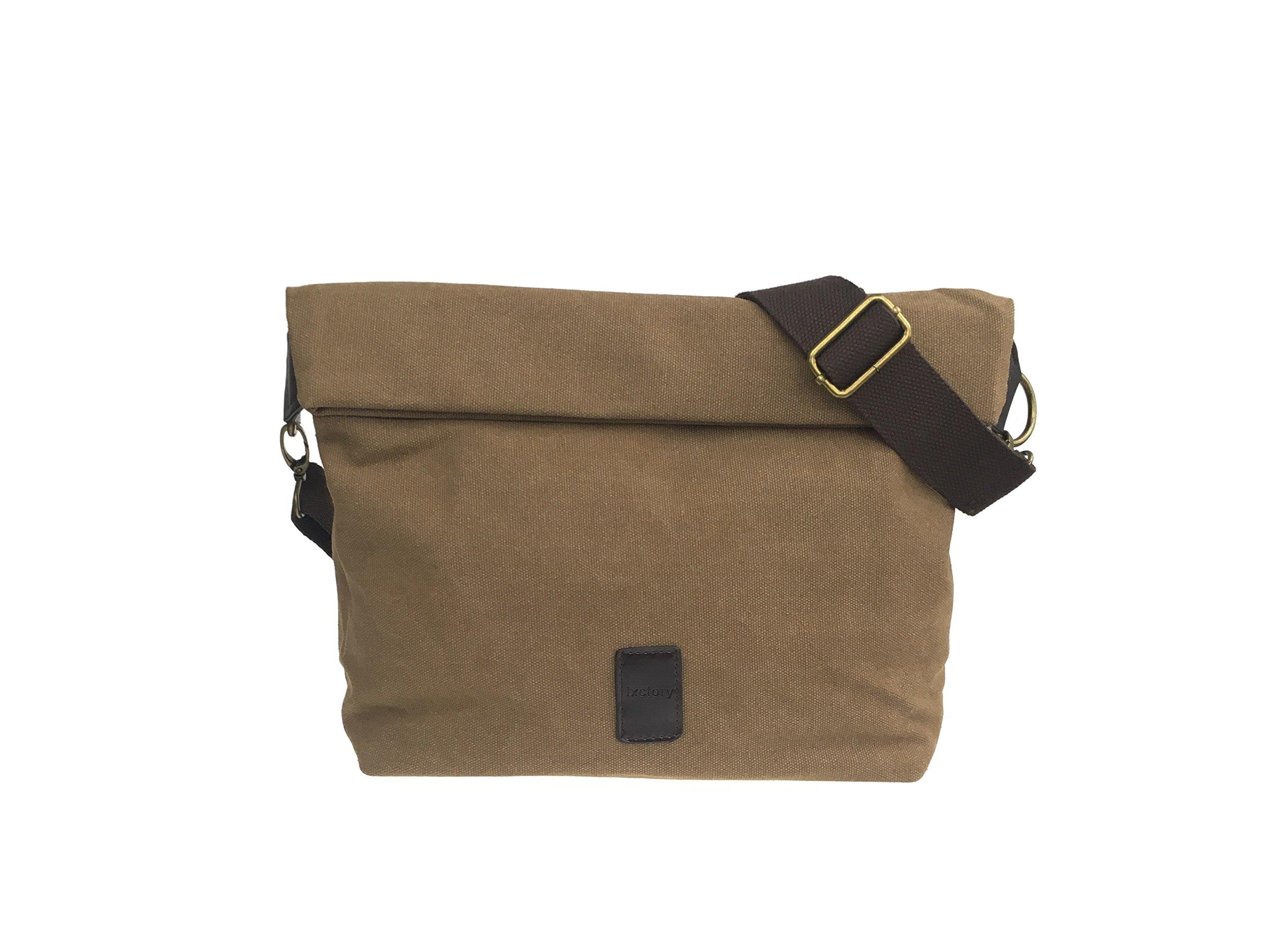 Canvas Shoulder Bag Classic Cross body Sling Bag Messenger Bag for Daily Using Etc (Brown)