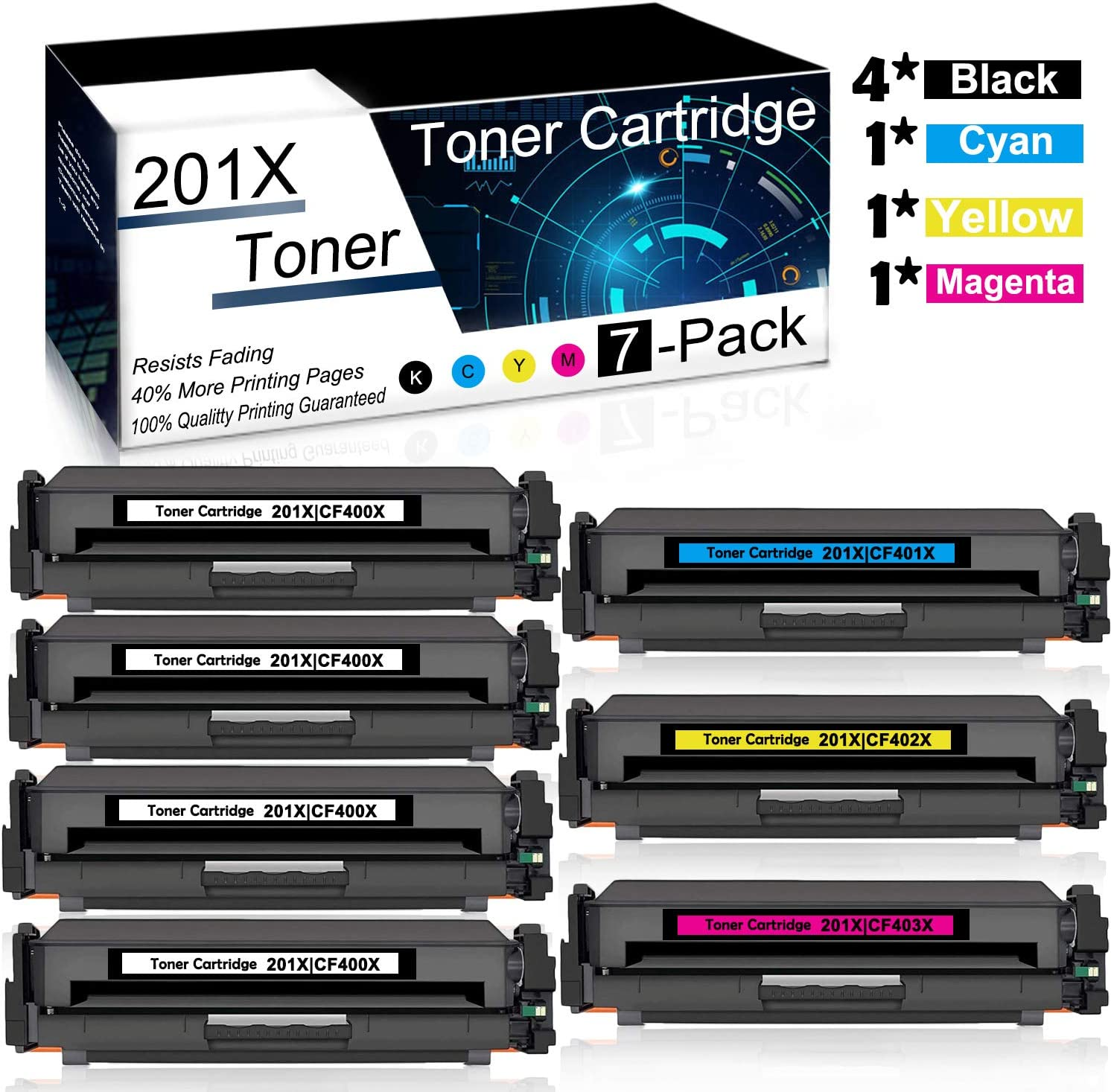 MFP M277c6 Printer Included 2 Cyan Compatible High Yield 201X 2 Magenta MFP M277n 2C+2Y+2M 6-Pack 2 Yellow CF401X CF402X CF403X Toner Cartridge use for HP Color Laserjet Pro MFP M277dw