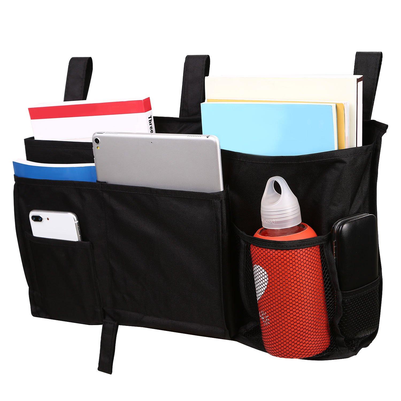 Corodo Black Bedside Caddy Organizer, Dorm Bedside Caddy with 8 Pockets for Bunk Beds, Hospital Beds, Dorm Rooms Bed Rails, Bedside Organizer Caddy