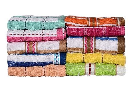 Paquete de 10 toallas para rostro o trapos de cocina, varios colores y diseños