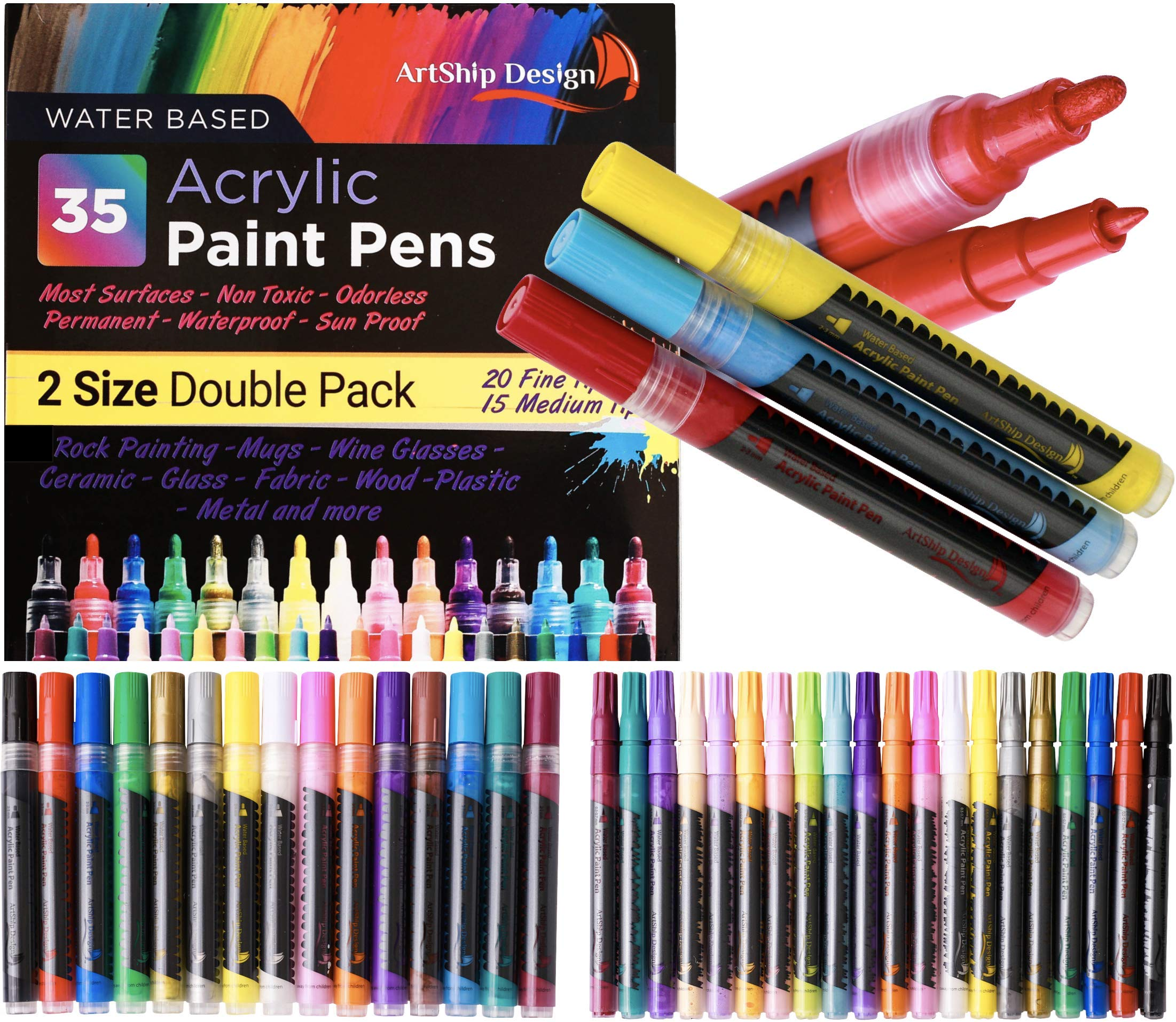 35 Premium Acrylic Paint Pens, Double Pack of Both Extra Fine and Medium Tip, for Rock Painting, Mug, Ceramic, Glass, and Fabric Painting, Water Based Non-Toxic and No Odor by ArtShip Design