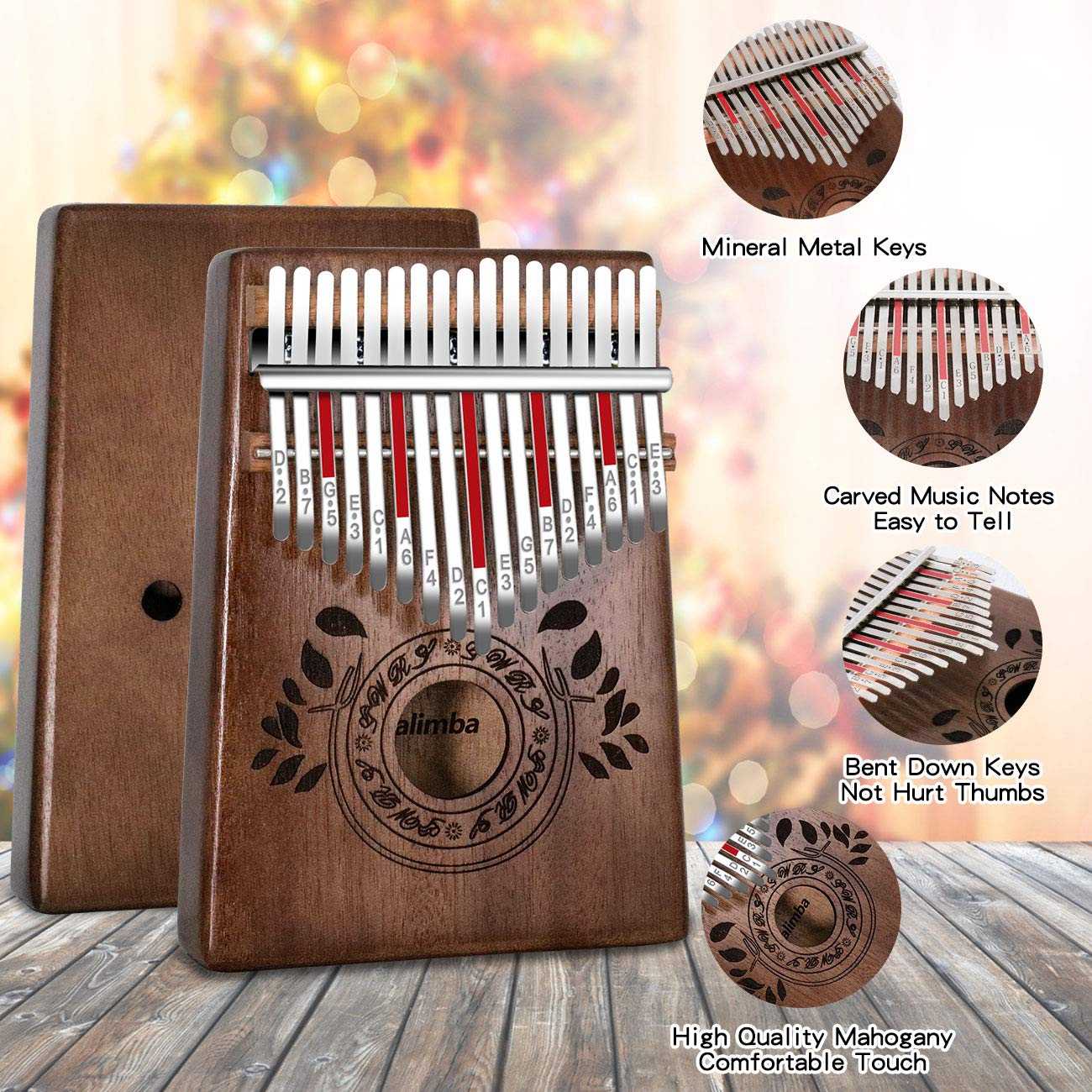 UNOKKI Kalimba 17 Keys Thumb Piano with Study Instruction and Tune Hammer, Portable Solid African Wood Finger Piano, Gift for Kids Adult Beginners (Chocolate Brown). by UNOKKI (Image #2)
