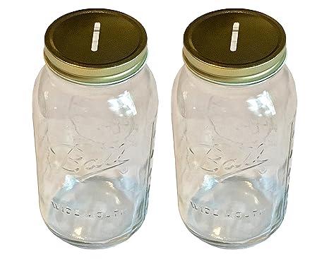Amazon.com: Mason Jar con tapa ranurada Insertar boca ancha ...