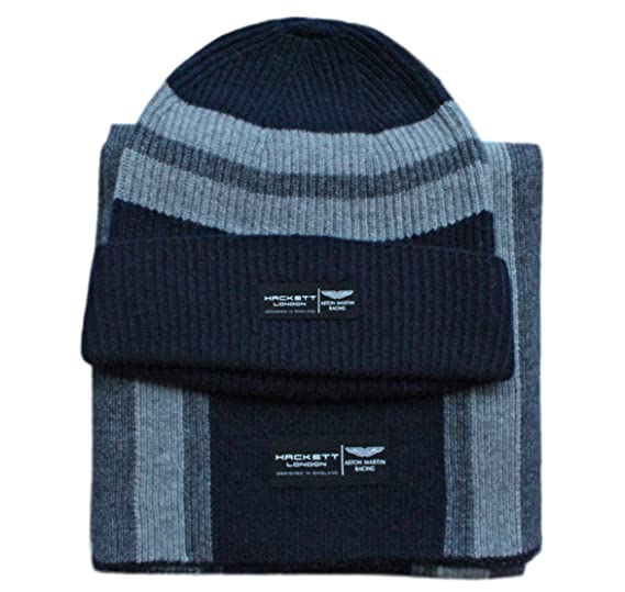 1ab70512885 Hackett Men s Aston Martin Racing Cable Knitted Stripe Scarf Beanie Gift  Set (Navy