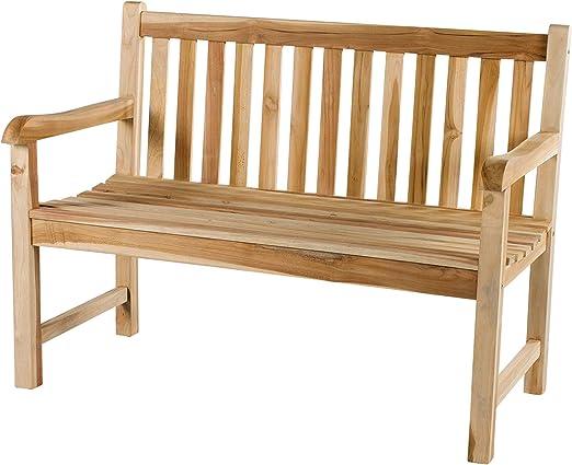 CHICREAT - Banco de dos asientos de madera de teca, banco de jardín de madera de teca con bandeja, aproximadamente 120 cm de ancho: Amazon.es: Jardín