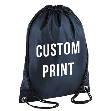 Personalizados Impresión - Cordón Mochila Bolsa Impermeable Gimnasio PE bolsa saco uniforme escolar, azul marino: Amazon.es: Deportes y aire libre