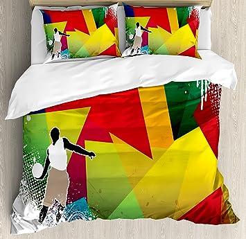 Amazoncom Ambesonne Basketball Duvet Cover Set King Size - Geometrical-shapes-on-bedding