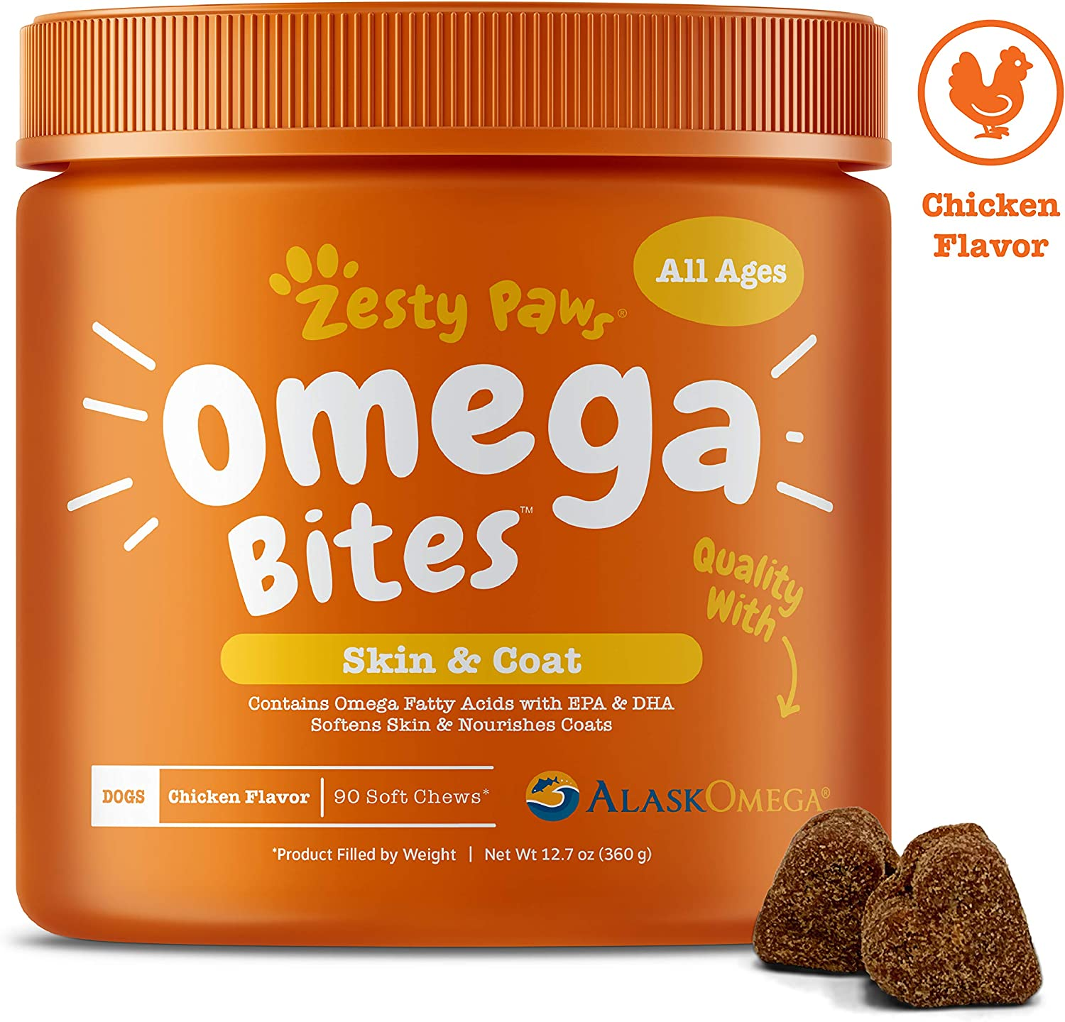 Zesty Paws Omega 3 Alaskan Fish Oil Chew Treats for Dogs – with AlaskOmega for EPA DHA Fatty Acids – Itch Free Skin – Hip Joint Support Heart Brain Health
