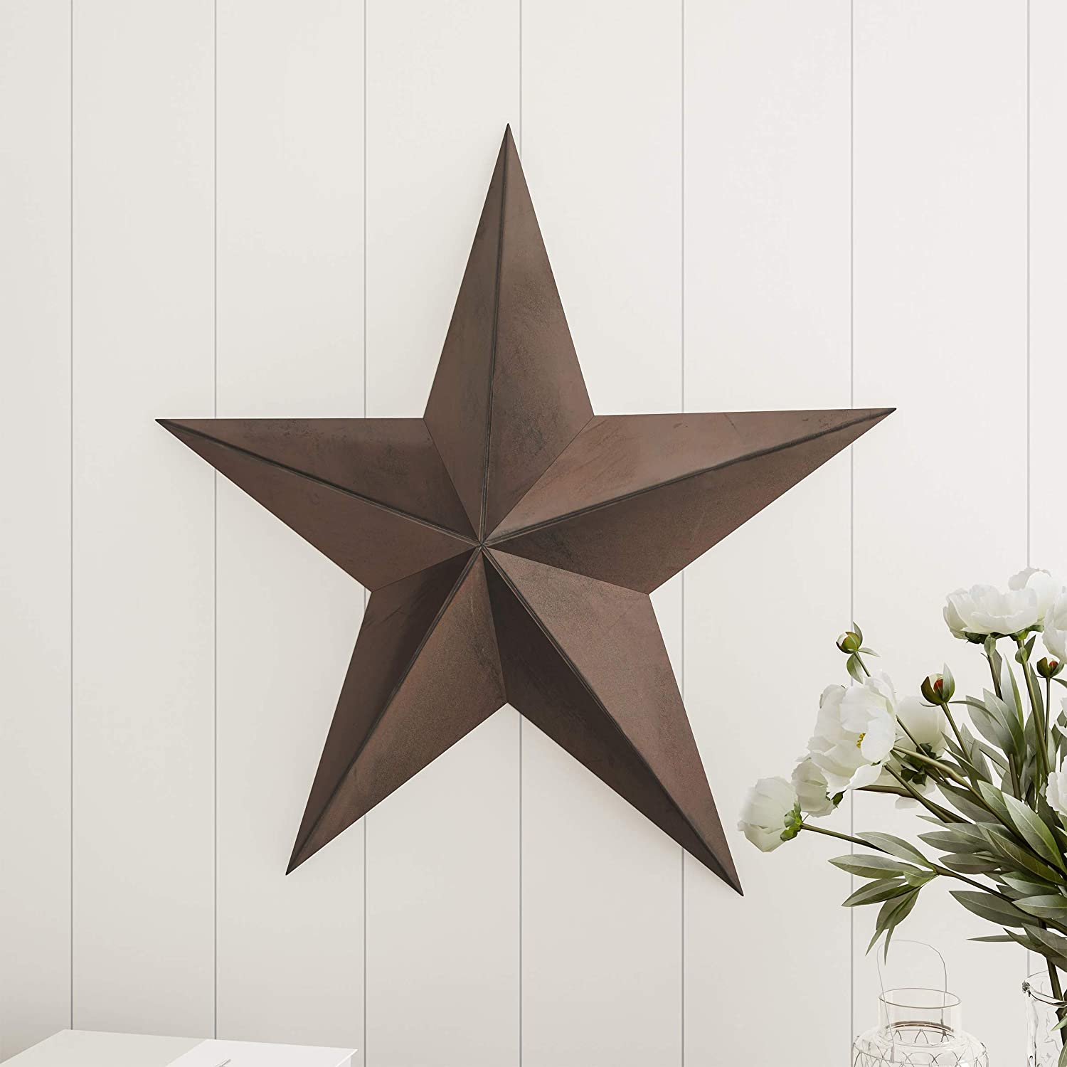 Lavish Home Barn Star-24-Inch Metal Indoor Rustic Farmhouse Americana Hanging Dimensional Shabby Chic Distressed Wall Décor, Brown