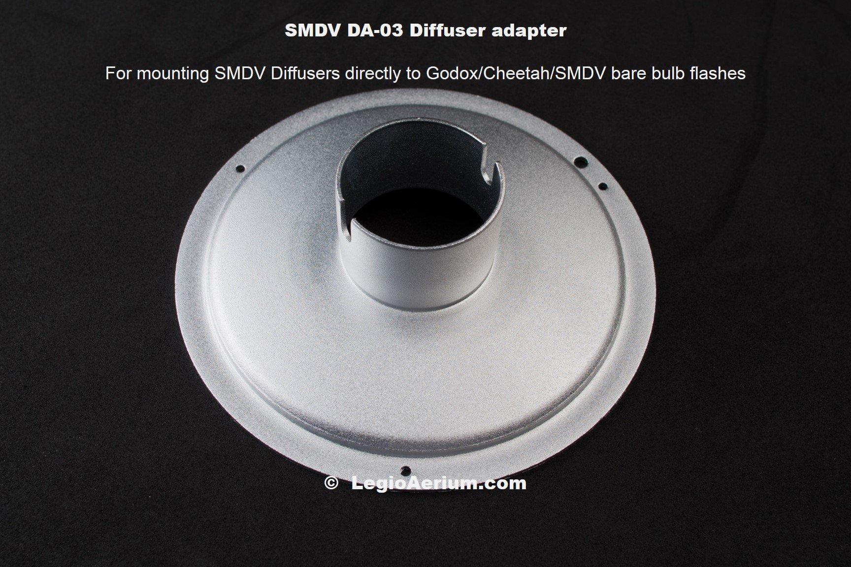 SMDV DA-03 adapter for Speedbox Diffusers and Godox Wistro AD-180, AD-360, Cheetah Light CL-180, CL-360, and SMDV bare bulb flashes
