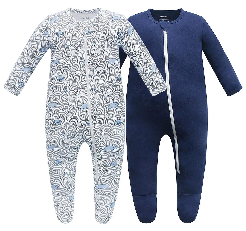 Owlivia Organic Cotton Baby Boy Girl Sleep N Play Zip Front Non-Slip Footed Sleeper Pajamas
