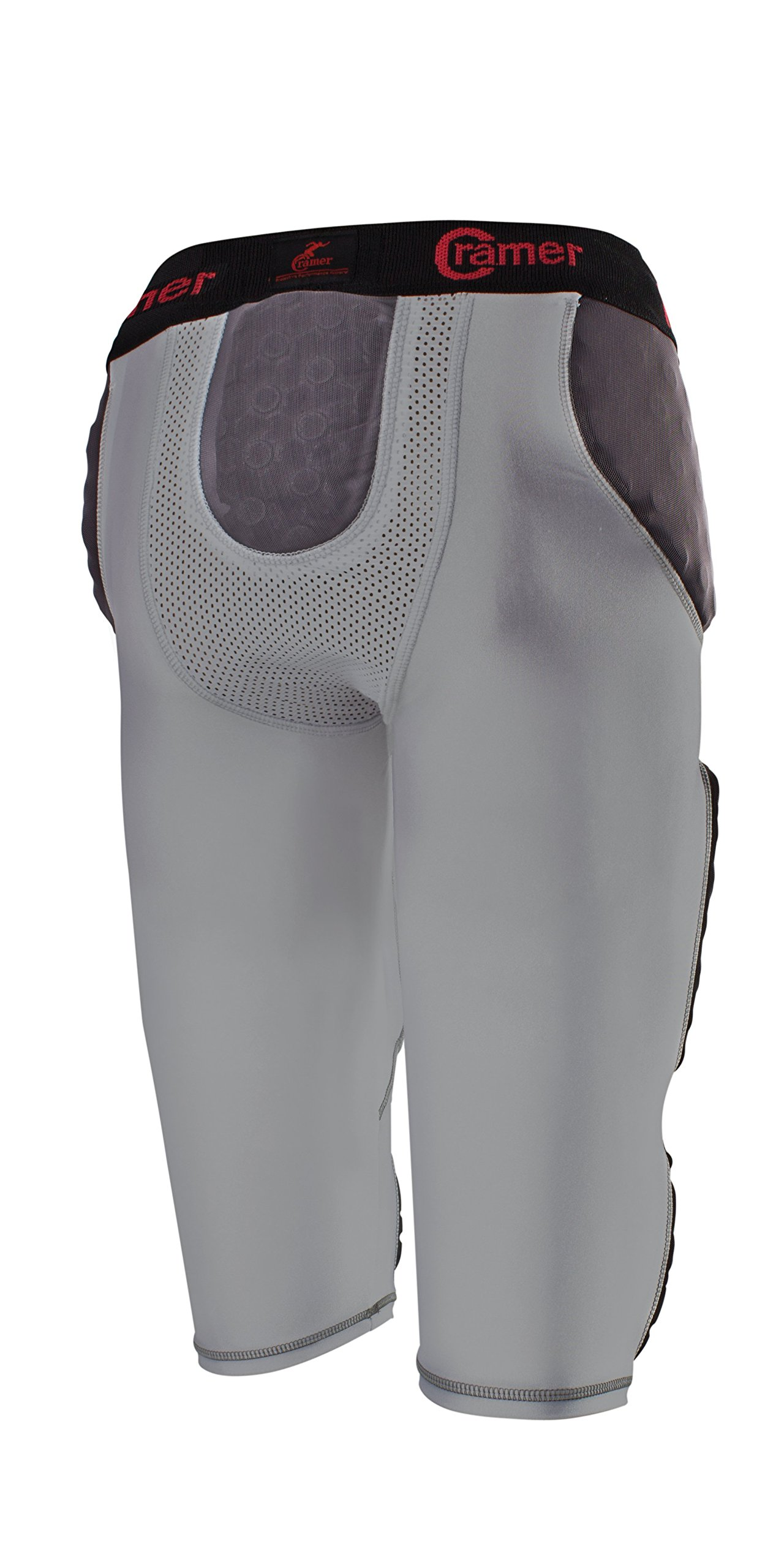 Cramer Lightning 7 Pad Football Girdle With Integrated Hip, Tailbone and Thigh Pads, Anti-Bacterial and Moisture-Wicking Fabric, Great Protection Without Impeding Athletic Performance, Gray, X-Large by Cramer (Image #3)