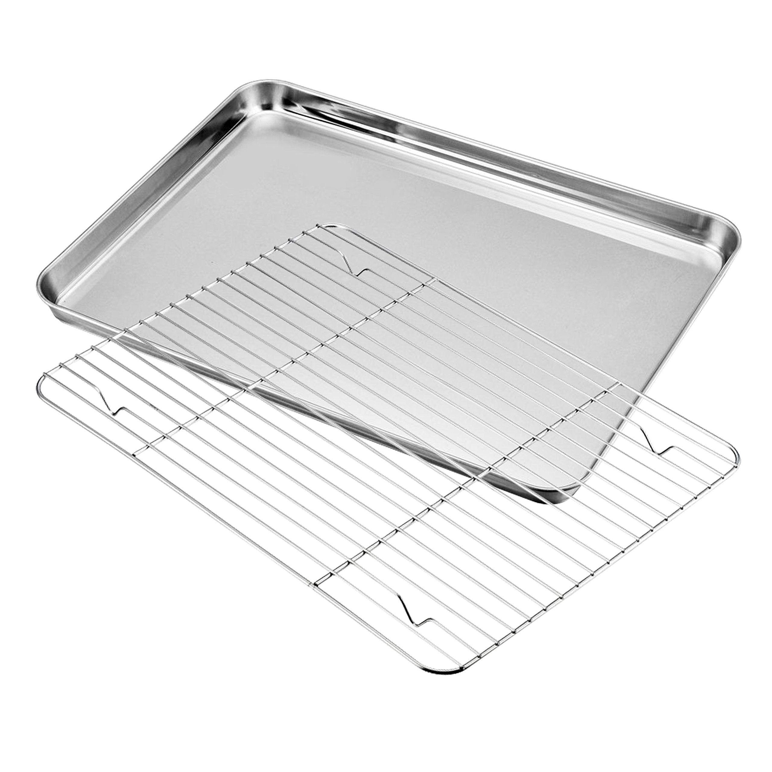 Baking sheets and Rack Set, Cookie pan with Nonstick Cooling Rack & Cookie sheets Rectangle Size 10 x 8 x 1 inch,Stainless Steel & Non Toxic & Healthy,Superior Mirror Finish & Easy Clean (1081)