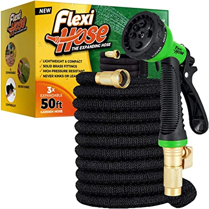 100ft Expanding Expandable Flexible Black Garden Hose Pipe Spray /& Holder