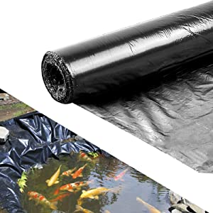 10 × 13 Feet 8 Mil HDPE Pond Liner- Puncture and Tear Resistant Pond Skins for Fish Flexible Pre-Cut Pond Tarp for Ponds Lakes Waterfall Streams Fountains Water Gardens Retention Basins (Black)