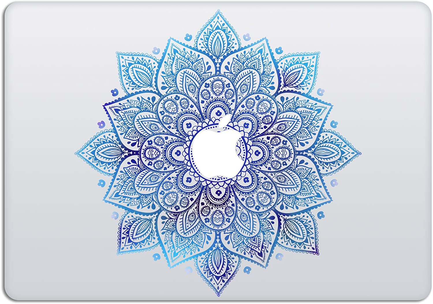 Laptop Stickers MacBook Decal - Removable Vinyl w/Glowing Apple Logo Diecut - Mandala Decal Blue Sticker Night Sky Skin for MacBook Air Pro 13 15 inch Mac Retina - Best Decorative Sticker by Artsybb
