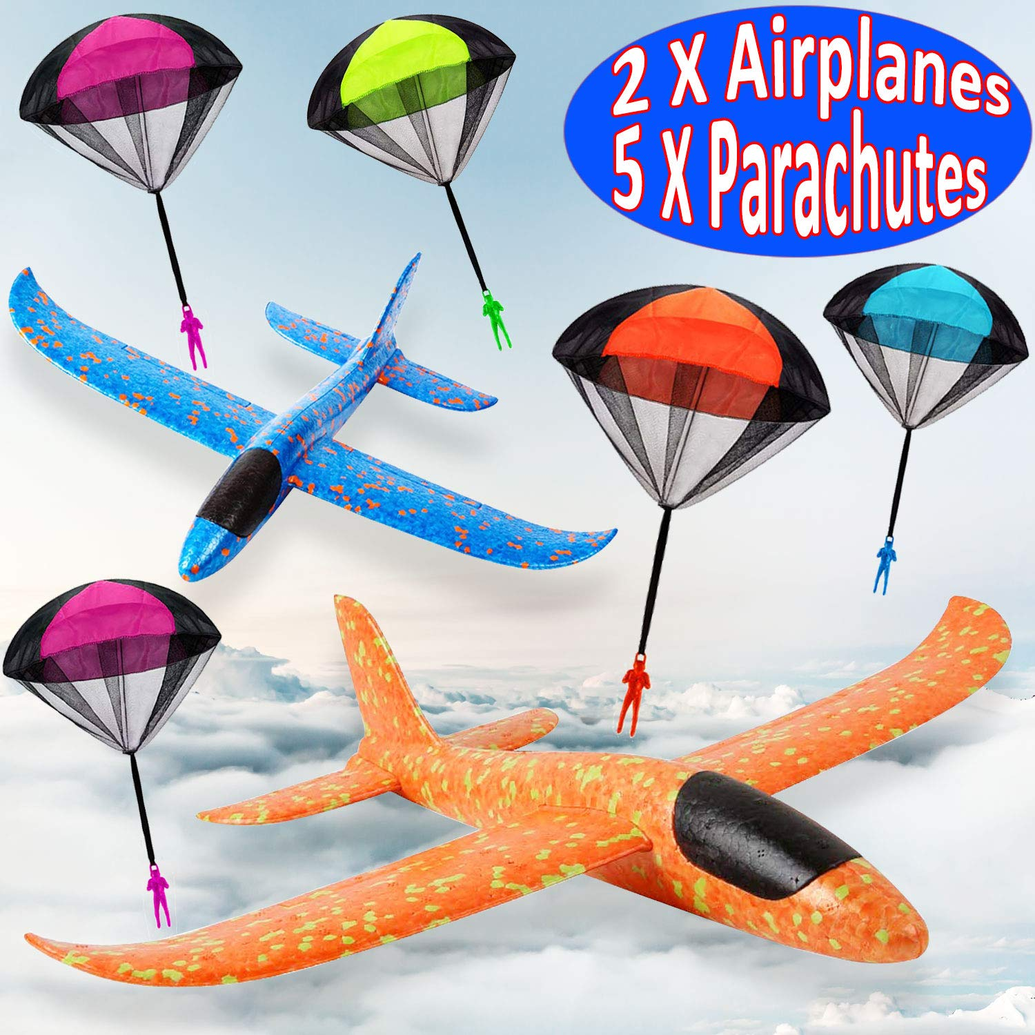 7 Pack Toy Airplane Glider for Kids, 2P 13.5'' Inch Throwing Foam Plane Kit Aircraft Jet+5P Toy Parachute Tangle Free Throwing, Outdoor Sports Flying Toys for Boys Girls Toddlers Teens Birthday Gift