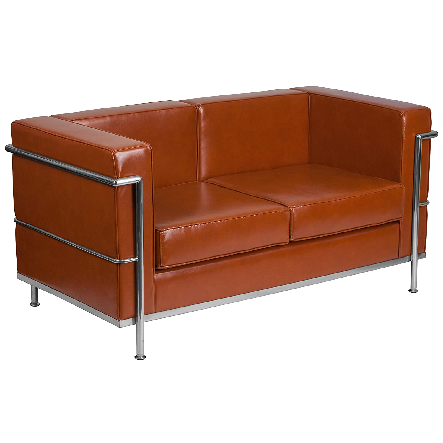 Phenomenal Flash Furniture Hercules Regal Series Contemporary Cognac Leather Loveseat With Encasing Frame Gmtry Best Dining Table And Chair Ideas Images Gmtryco