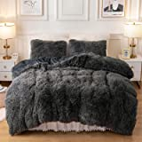 Plush Fluffy Duvet Cover Oeko-TEX Certified Luxury Ultra Soft Shaggy Crystal Velvet Bedding Comforter Set 2 Pieces(1 Duvet Co