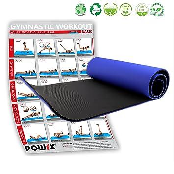 POWRX Tapis de Gym ÉPAIS avec ŒILLETS - Anti-DÉRAPANT Gymnastique – Fitness  - 4f902b0af77