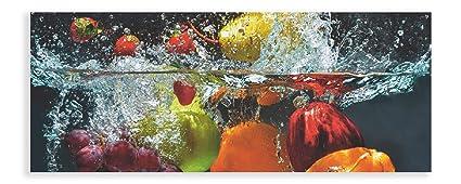 Artland Qualitätsbilder I Glasbild Küche Wandbild Deko Glas Bilder Größe  125x50 cm Genuss Obst Foto Bunt D1GJ Frisches Obst im Wasser