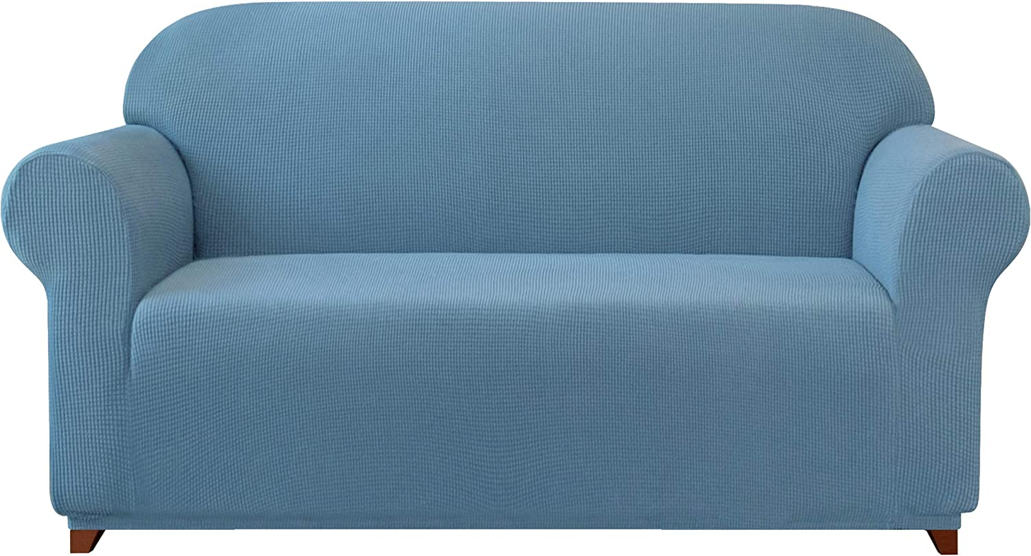subrtex Sofa Cover 1-Piece Stretch Couch Slipcover Soft Couch Cover Washable Furniture Protector for Pets, Jacquard Fabric Small Checks(Denim Blue,Large)