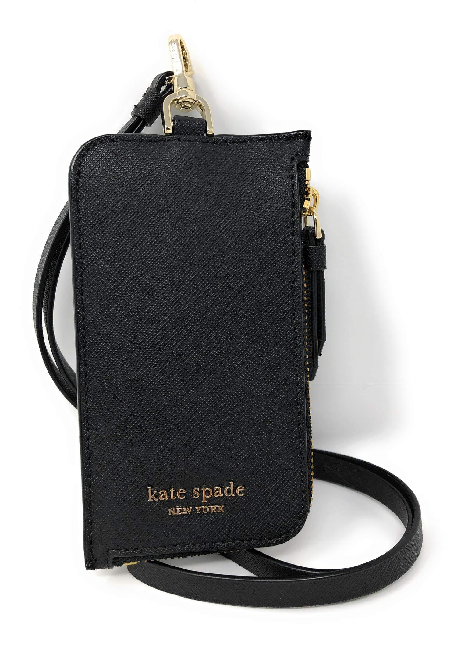 Kate Spade New York L-Zip Saffiano Leather Card Case Lanyard Black