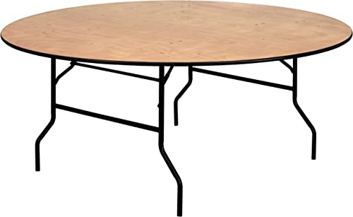 Flash Furniture 6-Foot Round Wood Folding Banquet Table with Clear Coated Finished Top