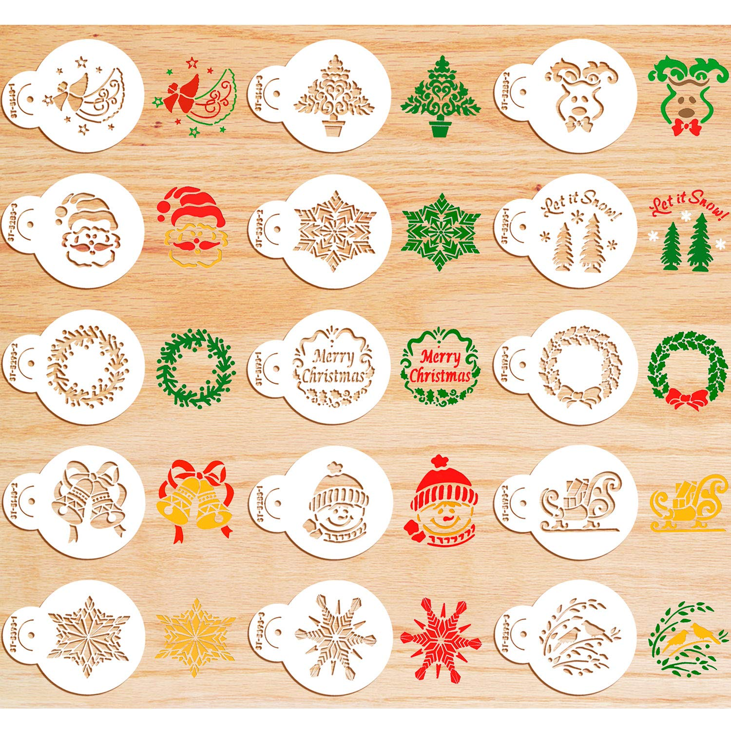 30 Pieces Christmas Cookie Stencils Fondant Cupcake Stencil Set Decorative Stencils Cake Tool by Boao
