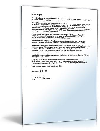 Arbeitszeugnis Arzthelferin Note Drei Word Dokument Download