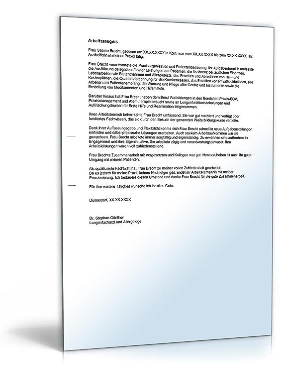 Arbeitszeugnis Arzthelferin Note Drei [Word Dokument]: Amazon.de ...