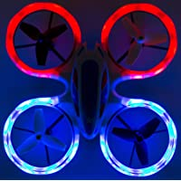 Wonder Chopper Sky Patroller Mini LED Stunt Drone RC Quadcopter Red and Blue w/ 360 Flip: 2.4GHz, 4 CH, Landing Pad Included, Crash Proof, for Kids Friendly, Beginner Friendly