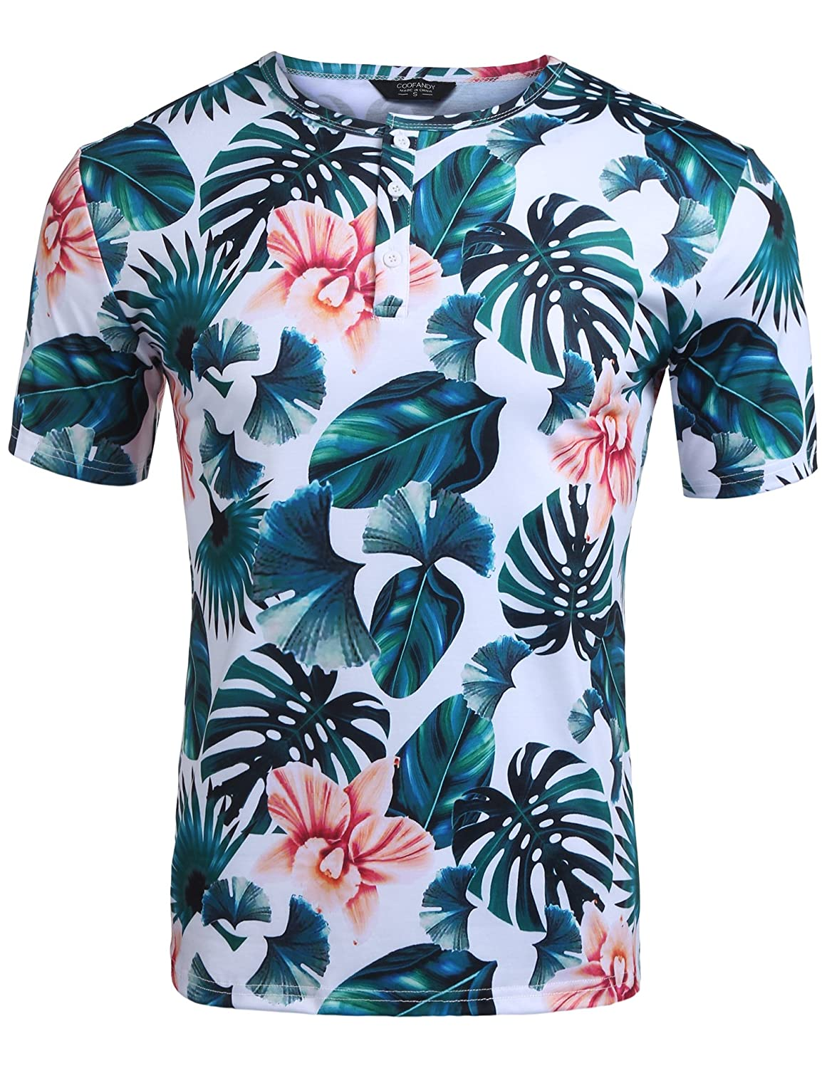 COOFANDY Men's Hipster Short Sleeve Tropical Floral Print Henley Tee Shirt