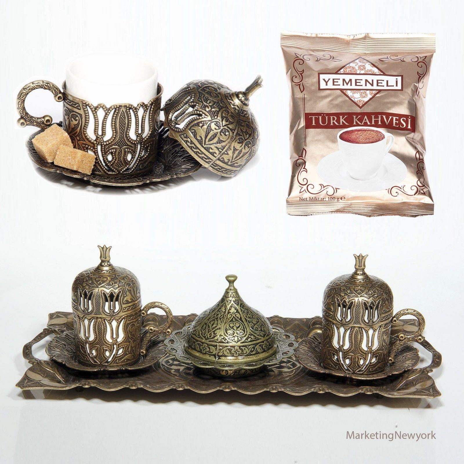 New 12 Pc Ottoman Turkish Greek Arabic Coffee Espreso Serving Cup Saucer Antique