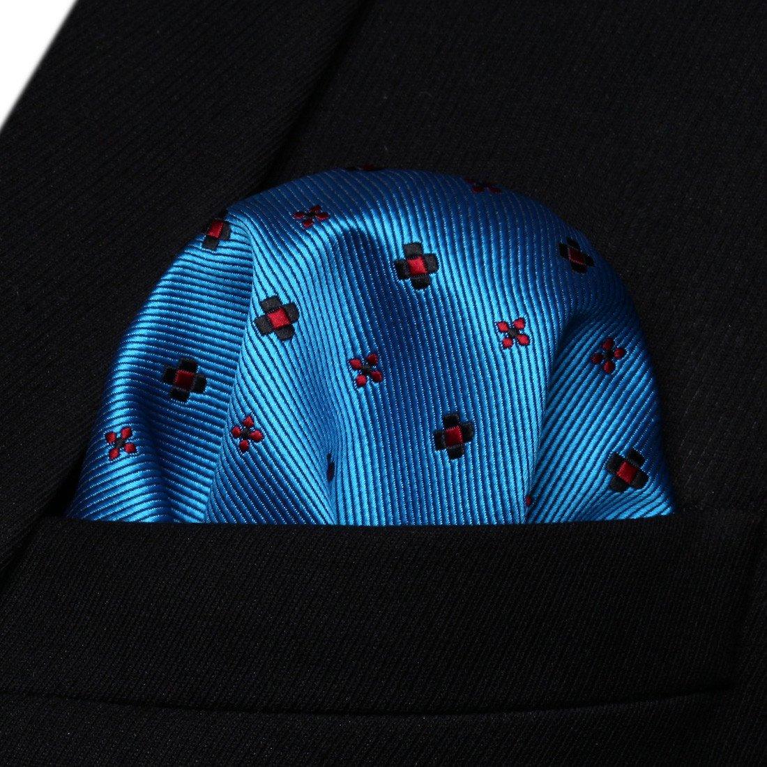 HISDERN Floral Dots Tie Woven Classic Mens Necktie /& Pocket Square Set
